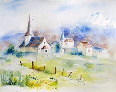 Originele Zwitserse dorp aquarel - origineel schilderij van Rougemont - landschap van de kerk en huis in Zwitserland