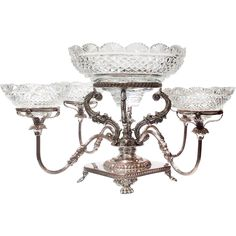 Silver Epergne Cut Glass Round Bowls England from Antiques of Riverr Oaks on Ruby Lane