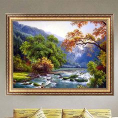 DIY 5D Diamond Embroidery Landscape Painting Cross Stitch Home Decor Crafts
