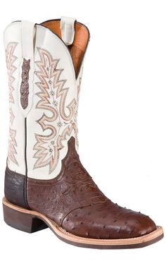 Lucchese Mens Brown Full Quill Ostrich with Ivory White Exotic Square Toe Crepe Boot