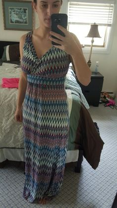 Loveappella multi chevron print maxi dress - small. Great coverage for large chest.  Might be a tad too long but I'll make it work.  Love that it shows my figure!