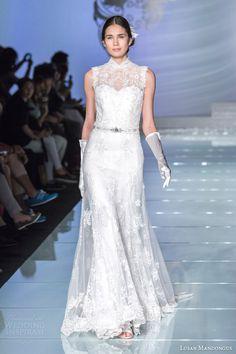 Lusan Mandongus 2015 #bridal collection: sleeveless #wedding dress with high neckline #weddinggown #weddingdress