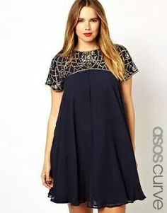 ASOS CURVE Exclusive Premium Swing Dress With Embellished Neck. yep, just window shopping! Trendy Plus Size Fashion, Curvy Fashion, Plus Fashion, Womens Fashion, Plus Size Dresses, Plus Size Outfits, Modelos Plus Size, Mode Plus, Looks Plus Size
