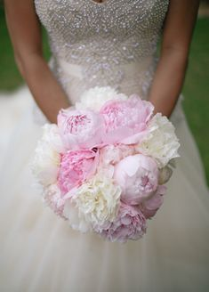 White and Pink Peony Bouquet | Cristina Elena Photography | Blog.theknot.com