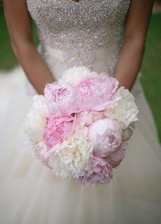 White and Pink Peony Bouquet   Cristina Elena Photography   Blog.theknot.com