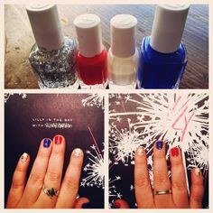 Essie and Lilly Pulitzer 4th if July nails