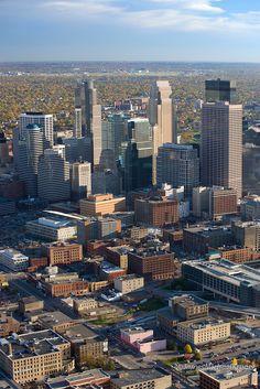 Aerial view of Minneapolis, October 2007