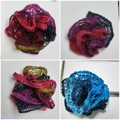 Flowers made by crocheting 2 rows of  Sashay in the round.  The blue one is a small flower attached to a hairpin. Fold the Sashay in half and pick up both layers of loops just below the fold to make a mini flower.  These flowers only took minutes to make!