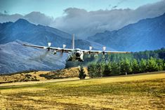 LC130H of the Antartic Division of the USAF doing a low fly over at Wanaka, New Zealand