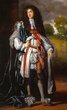 Carlos II de Inglaterra com uns volumosos calções rhingrave. Neste retrato podemos observar o gosto pelos laços, bastante volumosos. Visíveis nos sapatos