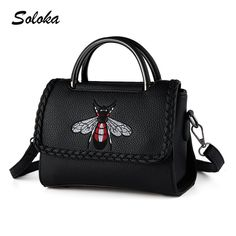 Women Bag Fashion Bee Embroidered Bags 2016 High Quality Leather Women's Handbag Shoulder Crossbody Messenger Bags