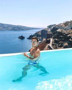 Soaking up those Santorini blues