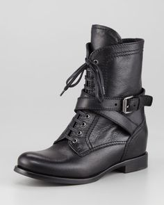 Lace-Up Leather Combat Boot, Black by Prada at Neiman Marcus.