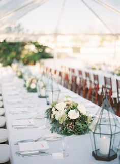 long table and low center pieces so people can sit together and see each other when they talk.