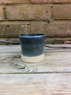 Blue Grey Stoneware Cup by OddJobsandArt on Etsy