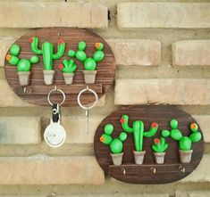 This gives me many ideas. Polymer Clay Charms, Polymer Clay Projects, Clay Crafts, Fun Crafts, Diy And Crafts, Crafts For Kids, Clay Magnets, Cactus, Play Clay
