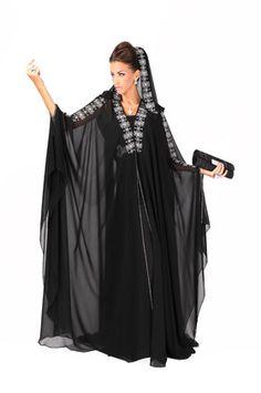 I have this abaya. Beautiful Hijab, Beautiful Dresses, Kaftan Abaya, Kaftans, Arabic Dress, Arab Fashion, Abaya Designs, Moroccan Dress, Hijab Outfit