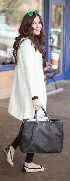 White Long Sleeve Eyelash Knit Cardigan, Black Tights, Embellished Flats, Leather Handbag in Black and Long Waves Hairs - The Sweetest Thing