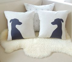 Italian Greyhound Pillow Cover Pair  Custom Colors  by VixenGoods