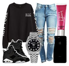 """"""""""" by foreverkaylah ❤ liked on Polyvore featuring Beauty Rush, Boohoo, H&M, Rolex and Retrò"""