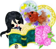 フリーイラスト素材本を読む可愛い女の子と金魚鉢  Free Illustration A cute little girl who is reading a book and a goldfish bowl   http://ift.tt/2tDD6Fh