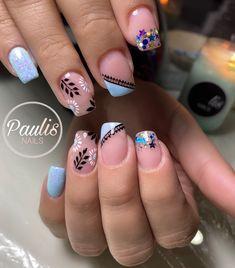 Pretty Nail Art, Fall Nail Designs, Nail Decorations, Nail Spa, Blue Nails, Short Nails, Beauty Hacks, How To Look Better, Manicure