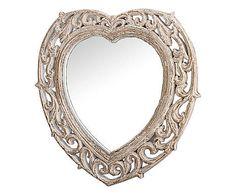 Specchiera da parete a cuore in legno Veronique - 43x44x2 cm