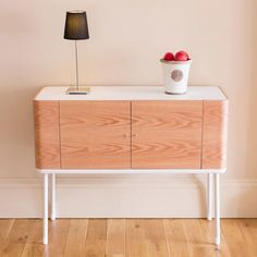 White Pad Wooden #Sideboard in Satin white/light oak veneer comes with adjustable 4 shelves. It is an exceptional choice for any modern #home.