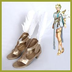 Game OW Winged Mercy Angela Ziegler Sports Competition Cosplay Costume Shoes High Heel Boots New Free Shipping Customized