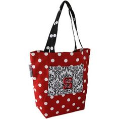 North Carolina State Wolfpack Red Polka Dot Small Canvas Tote Bag