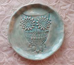 Owl Ceramic Trinket Dish Soap Dish Tea Bag by Angelheartdesigns, $18.00
