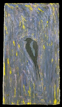 'bird on a wire' ©1996, acrylic on wood, small, by steve sas schwartz