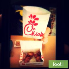 Celebrate National Chicken Month at Chick-fil-A by taking a picture enjoying a tasty chicken sandwich, tenders or nuggets with our app to earn cash rewards! http://earn.loot-app.com/#contest/MkoSL2eAUR