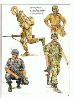 Gulf War - Invasion of Kuwait:  1: Iraqi Republican Guard;  2: Tank Officer, Iraqi RG;  3: Kuwaiti infantryman;  4: Officer, Kuwaiti SF