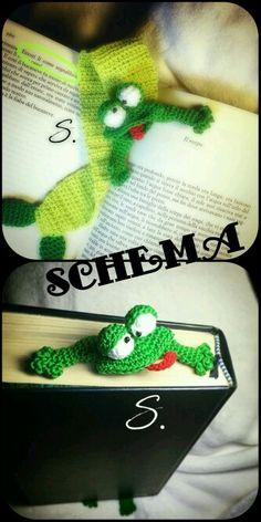 separador rana. Crochet grandkids a bookmark