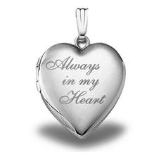 Sterling Silver 'Always in My Heart ' Heart Locket Pendant - Inch X Inch *** Save this wonderfull product at this trend jewelry 2016 board Heart Locket Necklace, Gold Locket, Silver Lockets, Sterling Silver Jewelry, Pendant Necklace, Necklaces With Meaning, Gold Necklaces, Necklace For Girlfriend, My Heart