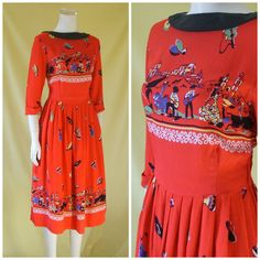 1950s Novelty Print Dress / 50s Day Dress / от HepCatVintageUK