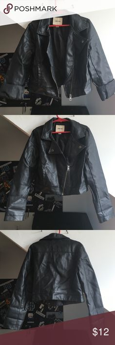Black Pleather Biker Jacket Junior's black pleather biker jacket. Zipper in good working condition, 2 real pockets, lining still in tact. Worn but still in good condition. Cherokee Jackets & Coats