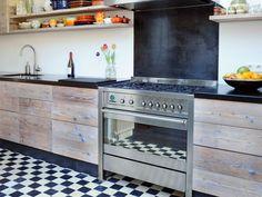 Steigerhout keuken vrijstaand fornuis