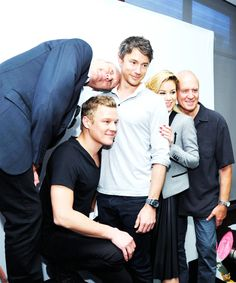 """Anthony Stewart Head, Christopher Egan, Tom Wisdom, Roxanne McKee and Alan Dale drop by the Microsoft VIP Lounge photobooth during Comic-Con on July 25, 2014 in San Diego, California"""