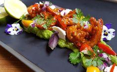 Tandoori Prawn on Avocado and fresh coriander salad