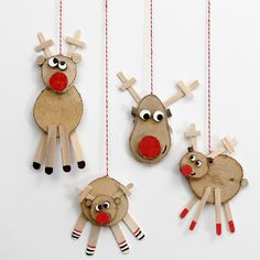 Reindeer made from wooden Discs - Creative ideas Photo Christmas Ornaments, Clay Ornaments, Felt Christmas, Christmas Crafts, Cork Crafts, Craft Stick Crafts, Diy For Kids, Crafts For Kids, Reindeer Craft