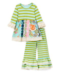 Look at this Ruffles by Tutu AND Lulu Green & Pink Lace Ruffle Top & Pants - Toddler & Girls on #zulily today!
