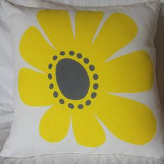 Retro Daisy Cushion Cover yellow/grey 50 x by amandamooneydesigns on Etsy Screen Printing, 50th, My Design, Daisy, Cushions, Retro, Yellow, Grey, Cover