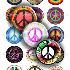 1 Inch Bottle Cap Images - Peace Signs Digital Collage Sheet (R263) | BottlecapBuzz - Graphics on ArtFire