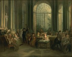 Le Salon Crozat, Nicolas Lancret (1690-1743).  What we see here in Lancret's painting  is a private concert in Paris in Watteau's era: From the early 18thC, musical life in Paris flourished and became more independent of the influence of Versailles. Private concerts - at which both amateur and professional musicians, both French and Italian, played - provided an ideal setting for the performance of new genres imported from Italy, such as the trio and the cantata.