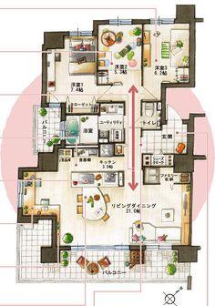 画像 : 理想の人気マンション間取り&インテリア集(4LDK 2LDK 高級 - NAVER まとめ Traditional Japanese House, House Layouts, Simple House, Sweet Home, Floor Plans, Flooring, How To Plan, Interior, Room