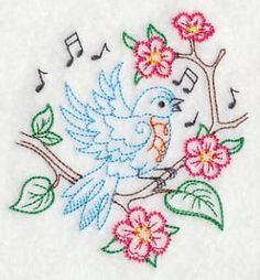 Vintage Embroidery Designs Singing Bluebird on Branch 2 (Vintage) Hand Embroidery Patterns Free, Crewel Embroidery Kits, Vintage Embroidery, Cross Stitch Embroidery, Embroidery Needles, Creeper Minecraft, Creations, Couture, Vintage Style