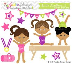 INSTANT DOWNLOAD,  dark skin little tumblers clip art, girls gymnastics clip art, tumbling graphics for personal or commercial use