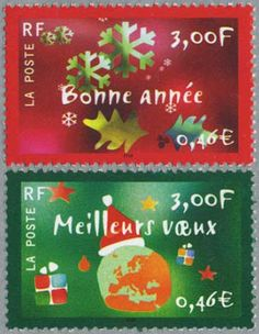 France, New Year and Christmas Postage Stamps.